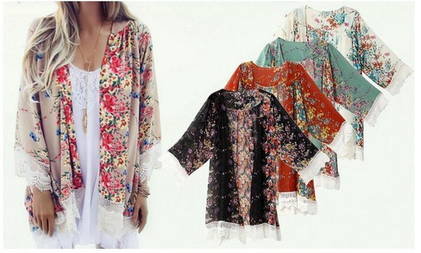 best selling Summer Women Floral Chiffon Kimono Cardigan Robe Jacket Blouse Tops Free shipping