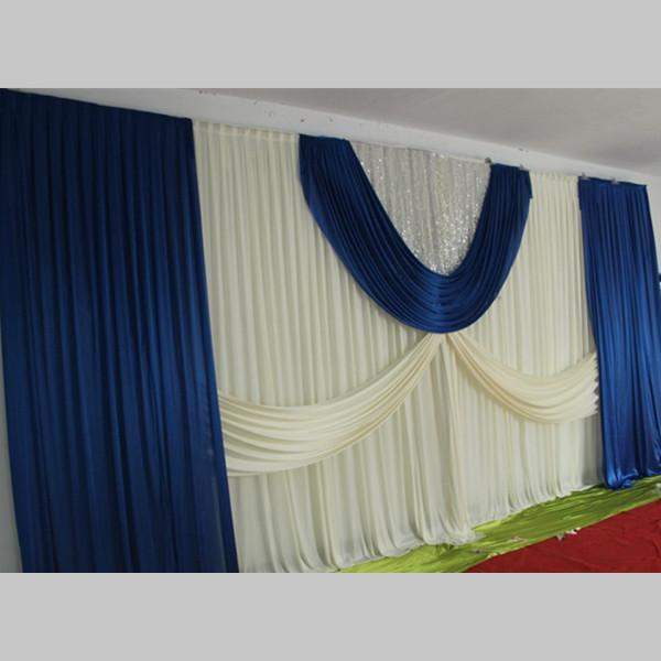3*6m wedding backdrop curtain with swag backdrop/wedding decoration blue ice silk stage curtains/ wholesale wedding curtain