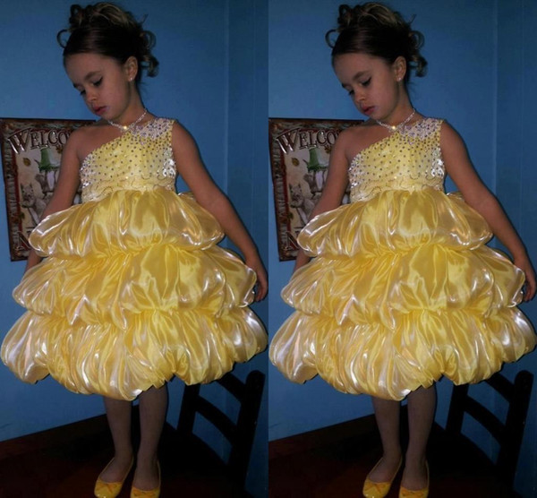 Luxury 2015 Girls Pageant Dresses Bling Bling One-Shoulder Knee-Length Pleated Ruffled Beauty Pageant Party Wear Ball Gown Flower Kids Skirt