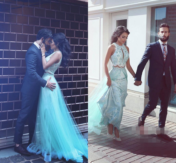 Two Pieces Prom Dresses Jewel Sleeves With Applique Evening Dresses With Tulle Overskirt Back Zipper Custom Made New Arrival Party Gowns