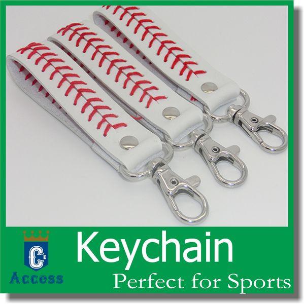 top popular 2018 baseball leather keychain fastpitch softball accessories baseball seam key ring 2020