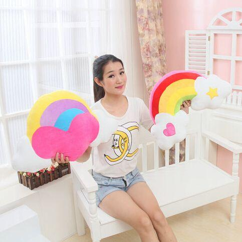 1 piece 35*55CM 2015 new arrived cartoon plush rainbow cloud bridge pillow cushion girlfriend baby toys