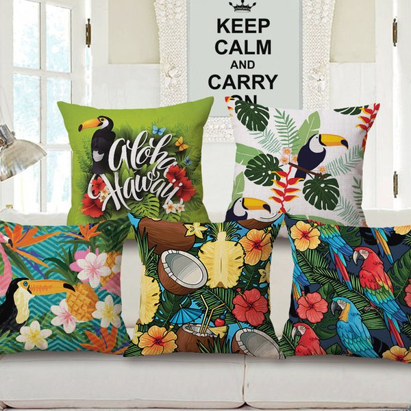 tropical plant animal flowers bird flamingos one side printing home decor chair sofa seat decorative cushion - Home Decor Cushions
