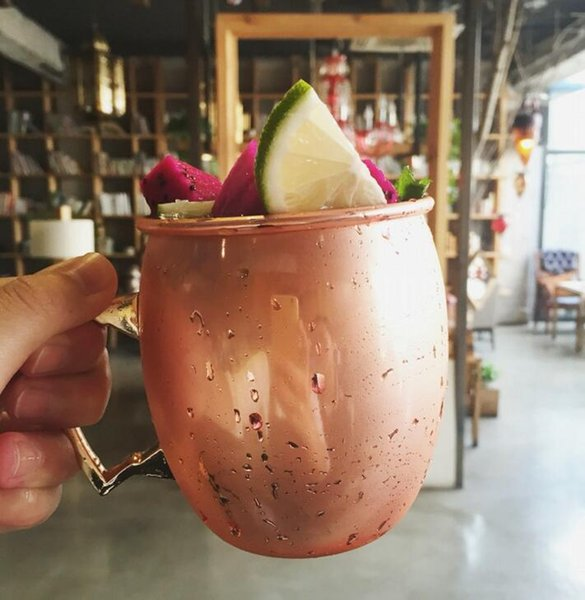 Moscow Mule Mug Stainless Steel Hammered Copper Plating Mug for Beer Ice Coffee Tea Wine Glasses Hammered Drum Cocktail Drink Cups