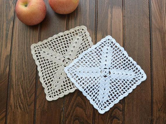 6 pcs in ~100% Handmade , Suqare doilies for home decor, Nice pattern doilies coasters, square doilies for DIY, vintage style placemats