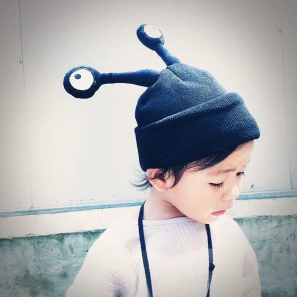 Baby Big Eyes Caps Cute Rabbit Ears Hats Costume Crochet Knitting Winter Hat Infant Girls Boys Photography Props Hats LC643-1