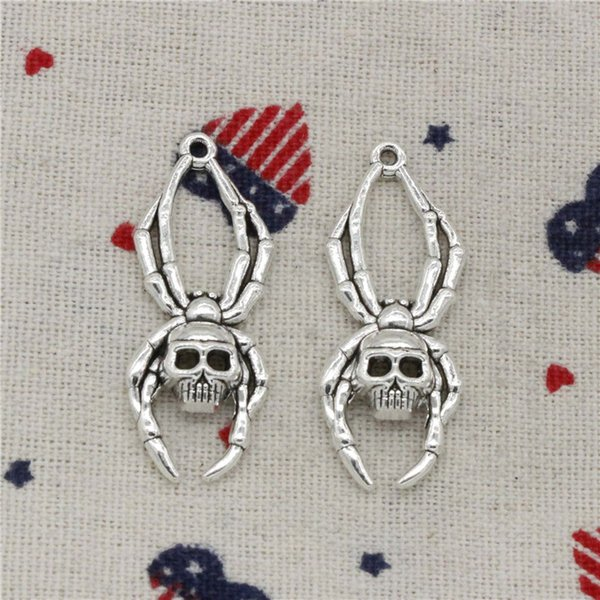 79pcs Charms skull spider halloween 40*16mm Pendant,Vintage Tibetan Silver,For DIY Necklace & Bracelets Jewelry Accessories