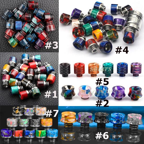 best selling 10 Types 510 Drip Tip Rainbow Honeycomb Resin Mouthpiece for 510 Thread Tanks Wide Bore Drippers TFV8 Baby Ego Aio Melo 2 3