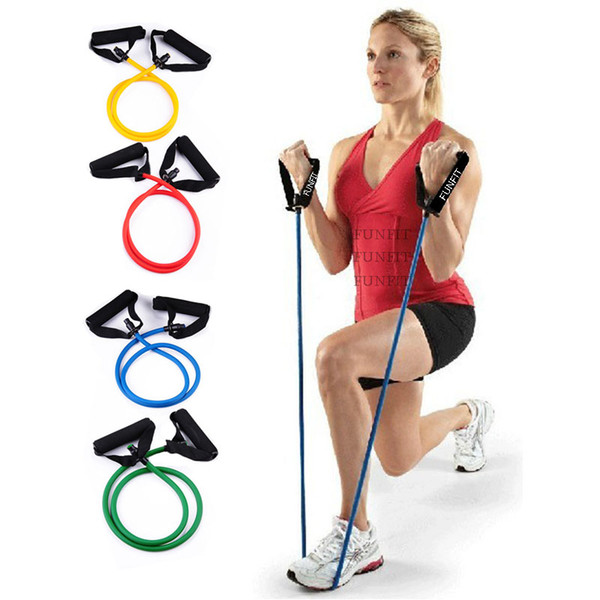 top popular 100% natural latex yoga pull tube resistance band with foam handles Exercise Leg Muscle Fitness Home Gym Training 2019