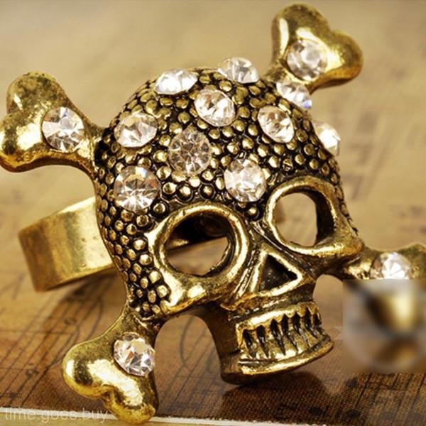 Стильный Rhinestoner Череп Ювелирные Изделия Панк-Рок Стиль Украшения Ретро Открытые Кольца #T062