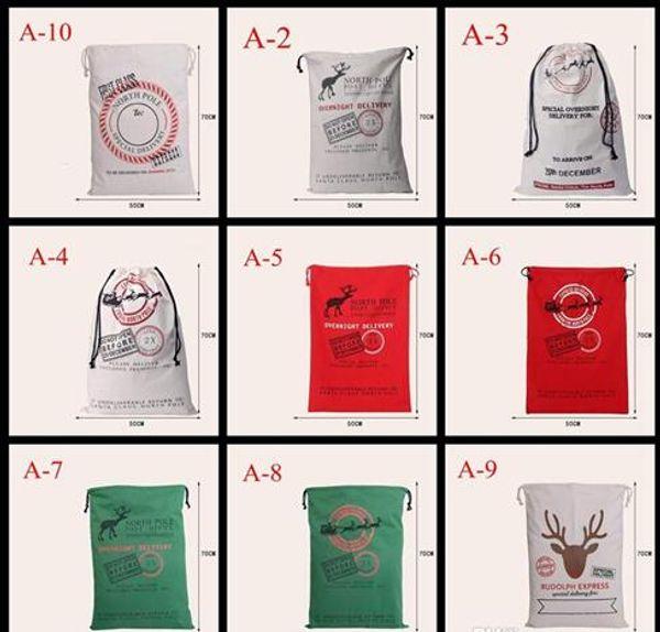 Xmas Christmas Gift Bag Wholesale canvas cotton elk Santa Claus Drawstring Bag Personalized Delivery Gifts Santa Sack bag