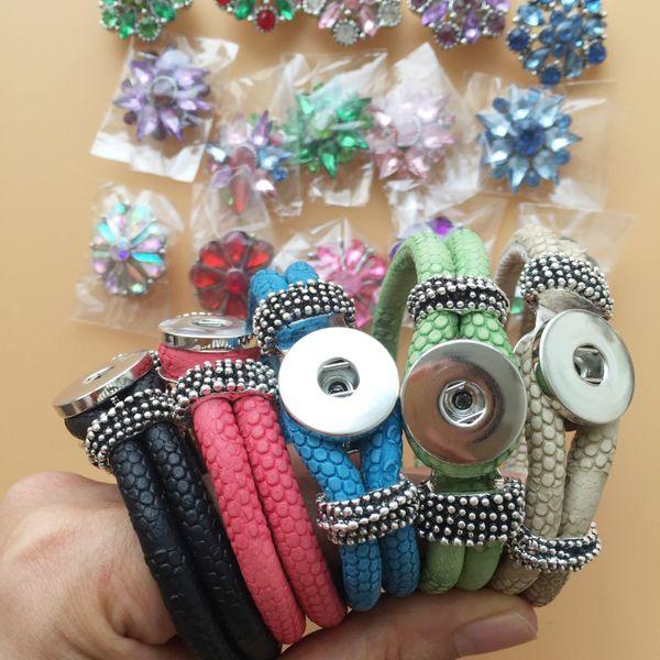 Real Photo 20pcs/Lot 20mm Charms Set Crystal Noosa Snap Buttons 5Pcs PU Leather Bracelets DIY Wristband Adjustable Size Free DHL F338L