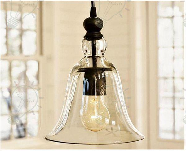 New Antique Vintage Style Glass Shade Ceiling Light Bell Pendant Light European Retro Chandelier Glass Pendant Lamps Glass Pendant Lights Lighting