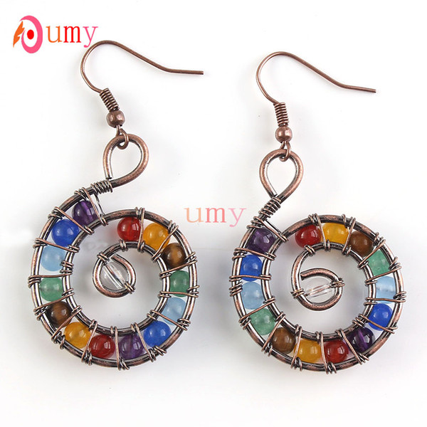 Wholesal 10 Pair Trendy Copper Plated Multi Color Round Beads Spiral Universe Dangle Earrings For Women