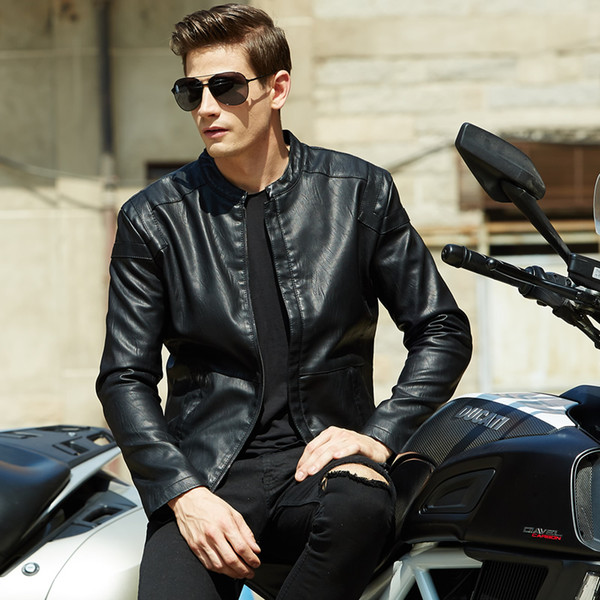 Autunno-2016 nuove moda uomo giacche in pelle moto Uomo pu Giacche in pelle Jaqueta Couro Masculina Jaqueta De Couro