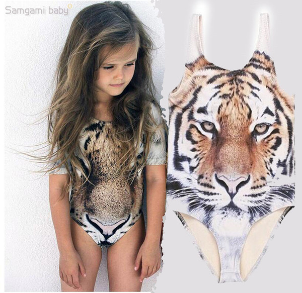best selling One Piece Kids INS tiger swimsuit 3D Tiger print Swimsuit for Girls Brand new Kids animal Swimwear Girls Bathing Suits Girls Swimwear