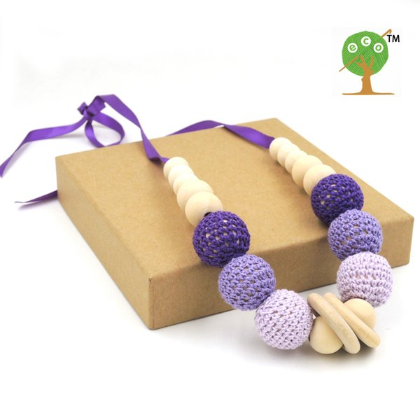 6 PCS Fade Purple Lilac pink crochet teething toy,wood beads Wooden baby toy baby teething necklace EN22