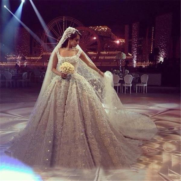 Handmade Crystal Bead 3D-Floral Appliques Luxury Ball Gown Wedding Dresses Off-Shoulder cathedral train Long Bridal Gowns Vestidos De Novia