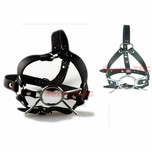 Apri bocca bocca ragno bocca gag palla o anello testa harness costume cosplay regolabile cintura in pelle ecopelle museruola b0302029
