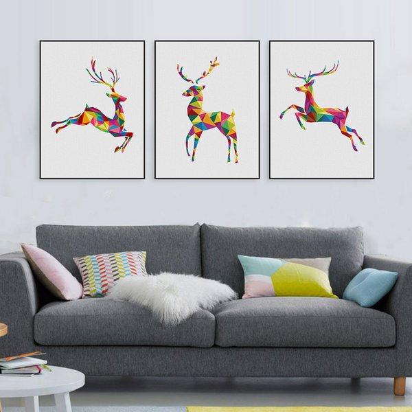 Trittico Moderna Astratta Geometrica Animali Cervi Regalo Di Natale Canvas  A4 Stampa Poster Da Parete Immagini