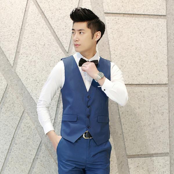 Tamaño de los EE. UU. XXS-XL, 2017 Chalecos de vestir de nueva llegada para hombres Chaleco de traje de los hombres slim fit Chaqueta de traje casual sin mangas de negocios casuales 9 colores