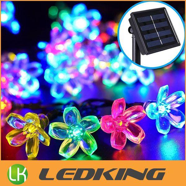 New Solar LED flower light led Cherry Blossom string light outdoor led christmas decoration lights waterproof 7m 50 led bulbs free shipping