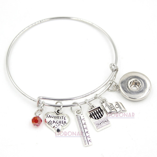 Wholesale Adjustable Bangle Snap Jewelry Teacher Bracelet Book Ruler Crayons Charms Bangle Snap Button Bracelets for Teacher Gift