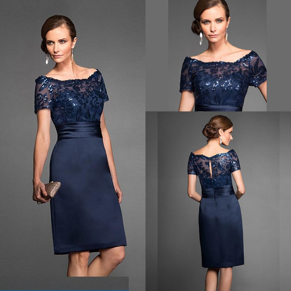 best selling Navy Blue Mother Of The Bride Dresses Elegant High Quality Knee Length Short Wedding Party Gown