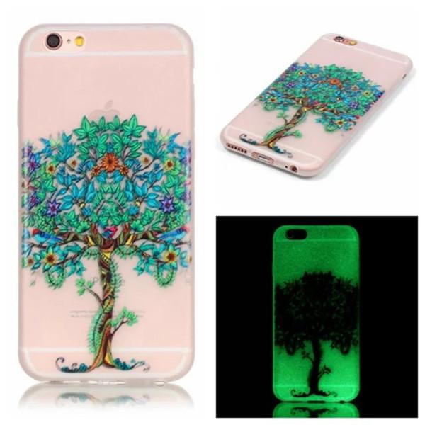 Luminoso Carcasa de TPU Suave para Iphone 6 6S Plus 5 SE 5S Huawei P9 P8 Lite Honor 5X Piel Resplandor de Plumas en Dark Wind chimes Cubierta de diente de león