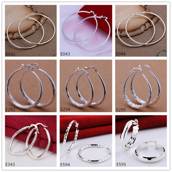 top popular Brand new women's sterling silver plated earring 10 pairs a lot mixed style EME58,high grade fashion 925 silver plate Circles round earrings 2019