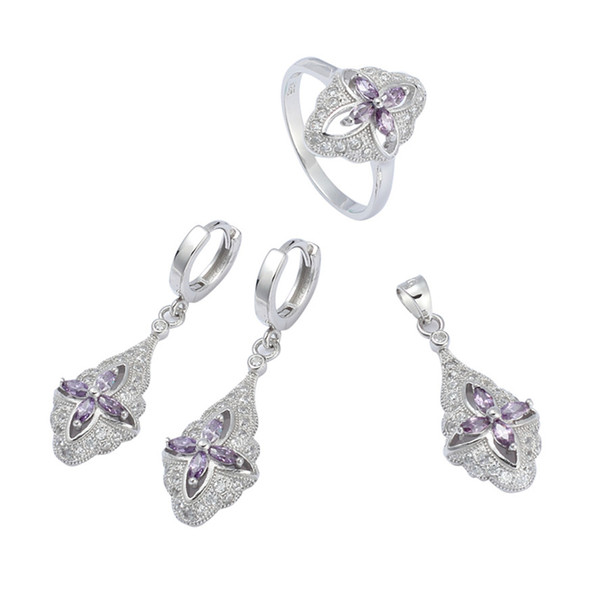 925 sterling silver Trendy heart set (ring/earring/pendant) Noble Generous S-3707set ssz#6 7 8 9 Light purple Cubic Zirconia The new listing