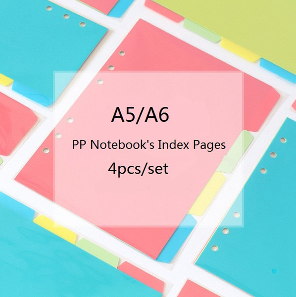 Wholesale- 4pcs/set DIY Notebook Index Dividers A5/A6 6holes Spiral Index Pages Planner Filofax Inner Slip Sheet Binder Category