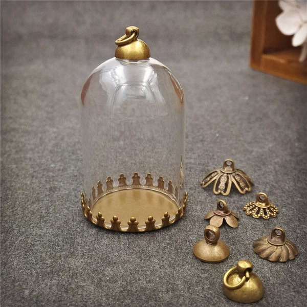 10pcs/lot 38*25mm tube glass globe bottle with small crown base set glass dome cover glass vial pendant charms handmade glass vial jewelry