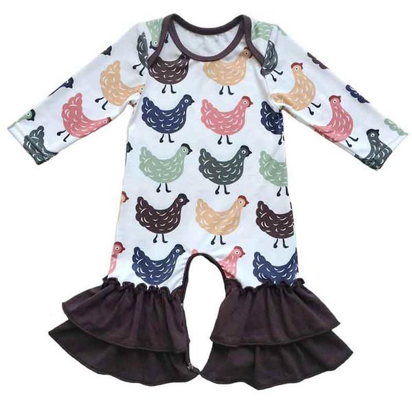 Acheter 2017 Nouveau Bébé Vêtements Mignon De Poulet Imprimé Bébé En Bas Âge Combinaison Automne Hiver À Manches Longues Enfants Boutique Pyjama De