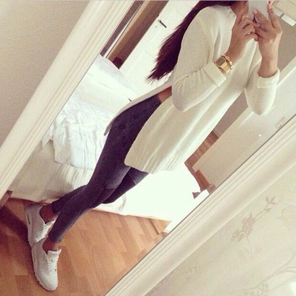 best selling 2015112903 Women Side Split Pullovers Knitted Sweater White Gray Ladies Autumn Winter Fashion Casual Sexy Long Sleeve O-neck Pull Femme