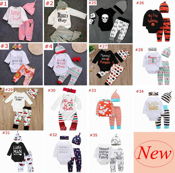 best selling Over 60 styles XMAS INS NEW Baby Baby Girls Christmas hollowen Outfit Kids Boy Girls 3Pieces set T shirt + Pant + Hat 0-2Years Free