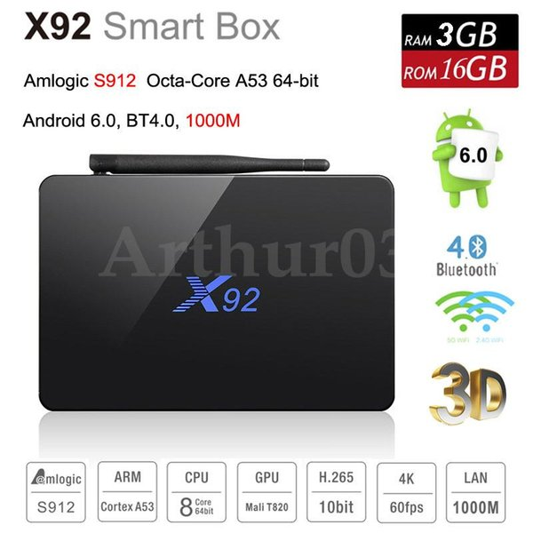 X92 Android 7.1 Smart TV BOX Octa Core Amlogic S912 Wifi 4K BT4.0 IPTV 3GB+32GB