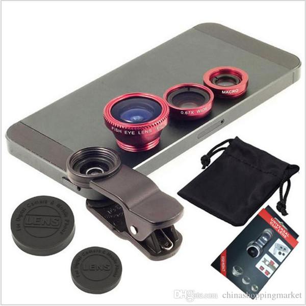 유니버설 클립 3 in 1 Fish Eye Lens 와이드 앵글 매크로 휴대 전화 카메라 유리 렌즈 Fisheye for iPhone 6 삼성 S5 S6 S7 가장자리 용 6Plus 5s