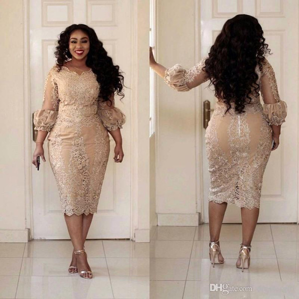 best selling Elegant Gold Mother Of The Bride Dresses 2019 Lace Applique Illusion 3 4 Long Sleeve Tea Length Evening Gowns Plus Size Cocktail Prom Dress