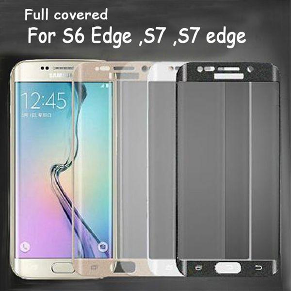 Per Samsung Galaxy 7 Edge S6 S6edge oltre a protezione totale Clear Clear TPU protezione dello schermo con confezione al dettaglio in vetro non temperato
