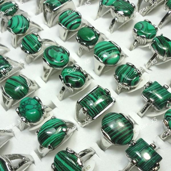 best selling Wholesale Jewelry Bulk Lots Mix Green Malachite Stone Silver Plated Ring For Women Men Fashion Jewelry Free Shipping LR524