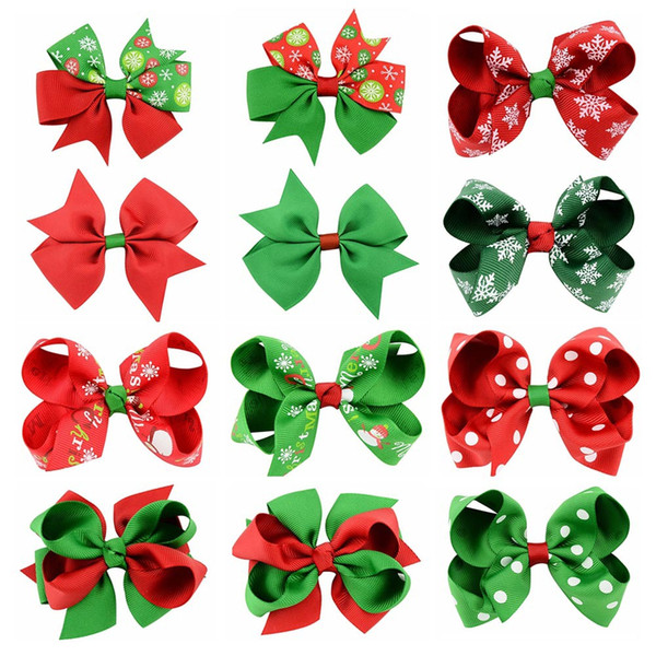 XS 12 Style Christmas Bowknot 4.5CM Clip Headband Hairpin for Girls Children Hair Accessories Wholesale