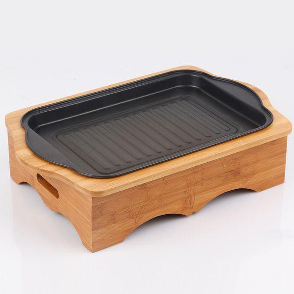 Barbecue portatile a carbonella con scatola di bambù per bar stufa a legna per uso domestico L45 * W29.5 * H11cm 035