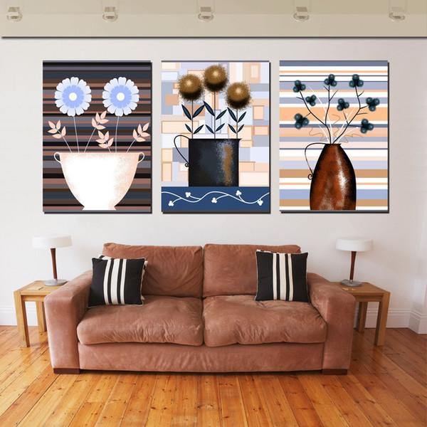 Unframed 3 Pieces imagen del arte decoración del hogar envío gratis impresiones de la lona Pintura al óleo abstracto en maceta de flores Cafeto tulipanes flor