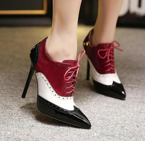 Großhandel Promi Stil College Wind Oxford High Heel Schuhe Patchwork Animal Prints Spitzschuh Stiefeletten 11cm Größe 25 81 Von Tallahassed, $55.45