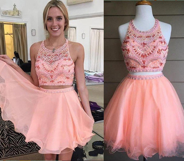 Two Pieces Party Dresses Short Prom Dresses Jewel Open Back ...