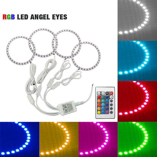 LEEWA 4pcs Car LED RGB Angel Eyes Halo Ring Light Wireless Remote Control for Ford Focus 08+ Bi-Xenon Headlight #3347