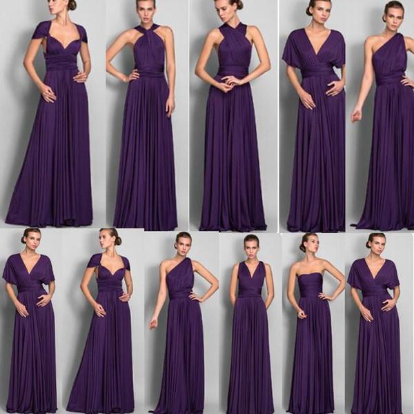 Vestidos de dama de honor púrpura baratos 2018 Convertible vestido de dama de honor de la boda de la longitud del piso de la gasa de alta calidad
