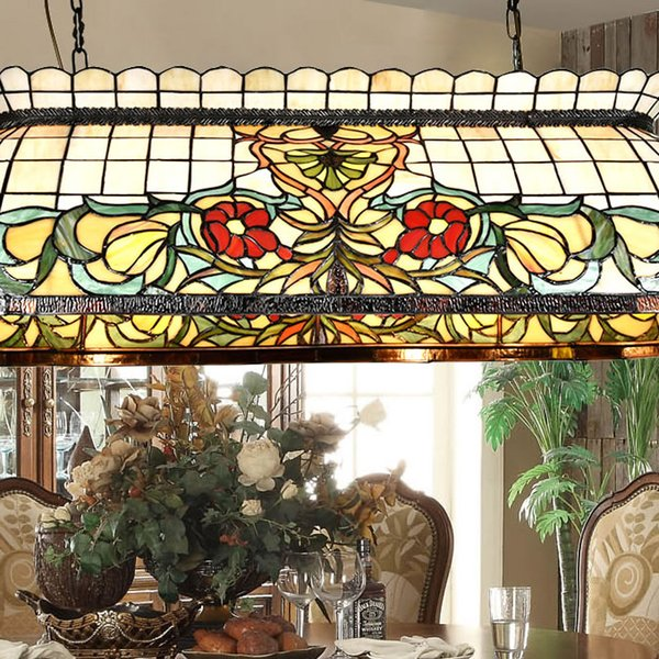 Tiffany Brief Stained Glass Ancients Pendant Lamp Art Creative Industrial Style Pastoralism Lights Restaurant Dining Room