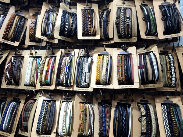 top popular Mens Womens Vintage Handmade Leather Surf Braid Charm Bracelet (3pcs) Set Men Cuff Wristband Mixed Styles Wholesale Set 2021